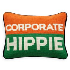 Jonathan Adler Corporate Hippie Needlepoint Pillow