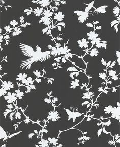 black and white wallpaper. Ideal for the inside of the kitchen cupboards.