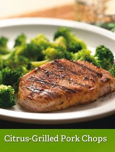 Citrus-Grilled Pork Chops- Just made this for dinner. Try lemon juice instead of lime :) Medifast Recipes, Diet Recipes, Cooking Recipes, Healthy Recipes, Easy Recipes, Recipies, Lean And Green Meals, Lean Meals, Grilled Pork Chops
