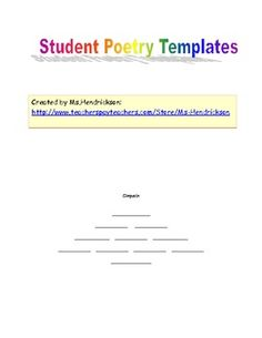 After studying poetry, my students wrote their own haikus, acrostic poems, rhyming poems, cinquains, and concrete poems. These are the templates I created to help students write the final draft of their poems that we later dispalyed along the 4th grade hallway.