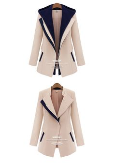 Street Jackets Faux Two Piece With A Hood patchwork Blazer Casual Coats