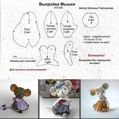 Ideas for sewing patterns free animals english - Her Crochet Sewing Stuffed Animals, Stuffed Animal Patterns, Animal Sewing Patterns, Doll Patterns, Pretty Toys Patterns, Sewing Crafts, Sewing Projects, Felt Projects, Mouse Crafts