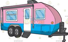 A Cute Caravan: An adorable caravan with pink and blue body paint air conditioning system glass windows a white door four wheels and a dark gray steel attachment up front Travel Clipart, Blue Bodies, Air Conditioning System, White Doors, Vector Illustrations, Body Painting, Caravan, Vehicle, Wheels