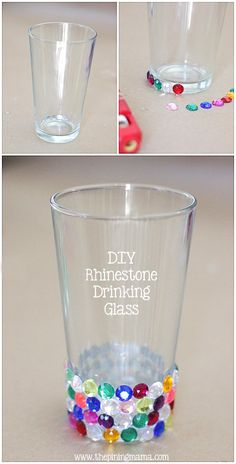 DIY Rhinestone drinking glass from The Pinning Mama   Personalize your tumbler