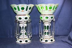 Vintage 14 inch Large Bohemian Czech PAIR Green Mantle Lustres Case Glass MINT