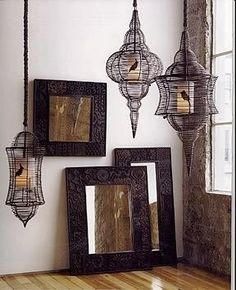 Birdcages with a flameless candle inside, a bird stenciled on the candle!!