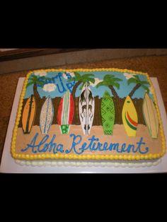 Surfboard beach retirement cake