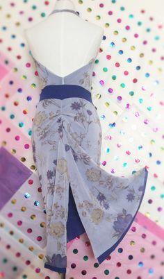 French blue halter dress. Tango dress. by AtelierVertex on Etsy