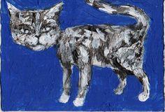 """CAT""  Acrylic original  ,ACEO  jack larson 3.5""x2.5"" #Abstract"