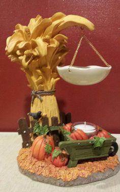YANKEE CANDLE Autumn Pumpkin Fall Leaves Wheelbarrow Hanging Tart Warmer Burner