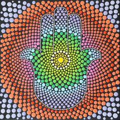 Divina mano Hamsa mano Mandala, Mandala punto arte de bendición Dios, símbolo de protección
