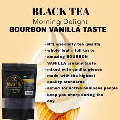Black tea with amazing creamy vanilla taste Premium Tea, Vanilla Recipes, Fitness Sport, Afternoon Tea, Bourbon, Healthy Living, Autumn, Cakes, Vegan