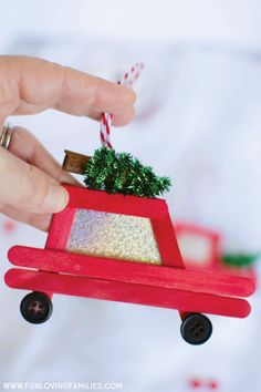 DIY Car and Truck Popsicle Stick Christmas Ornaments - Fun Loving Families - Adult Crafts Christmas Crafts For Kids, Diy Christmas Ornaments, Craft Stick Crafts, Diy Christmas Gifts, Simple Christmas, Holiday Crafts, Christmas Decorations, Diy Crafts, Christmas Tree