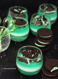 Mint Panna Cotta w/ Mint Oreo Cookies by theresahelmer.deviantart.com on @deviantART