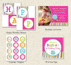 Owl DIY Printable Birthday Party Package Party by LollipopPrints, $30.00