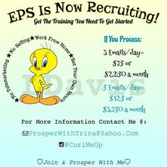 Good Morning  Hope everyone has a blessed and prosperous day. I'm currently looking to fill 7 positions for Email Processors today. No experience needed full training provided. If you can copy/ paste and answer emails you can make over $500+ a week. Pay is instant and daily. PayPal is needed to receive payments.  There is a low one time start up fee of $25 which comes with membership, digital products and training. Serious Inquiries click the picture to get started today