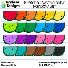 Hadasa Designs: Sketched Watermelon Clip Art- Rainbow Set : This clip art set contains 26 sketched style image files of the SAME illustration in total, which includes 25 COLOR images and 1 BLACK & WHITE images. All images are 300dpi for better scaling and printing. All the images are hand drawn by me, then I color them in with my iPad.
