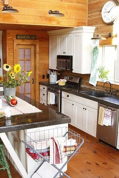 Summer Kitchen in a Rustic Log Home