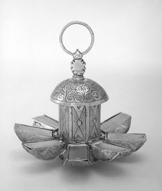 Silver pomander with eight compartments (displayed open), c. 1580, London.