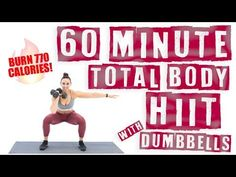 60 Minute Total Body HIIT Workout With Dumbbells ? Workout at Home Total Body Workouts, At Home Workouts, Cardio Workouts, Cardio Circuits, Extreme Workouts, Exercise Routines, Excercise, Aerobics Workout, Dumbbell Workout