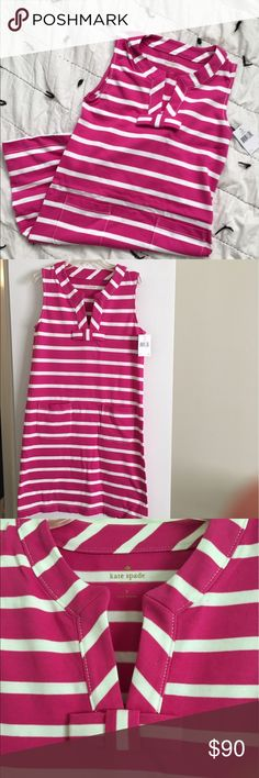 Kate spade Tropez summer dress sz small Fun and preppy pink and white stripe dress from Kate Spade. Adorable bow detail and pockets make this a great and easy dress to wear in the summer. Sz small NWT kate spade Dresses Mini