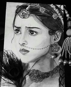 Cute pencil drawing of sneha Pencil Sketch Portrait, Pencil Sketch Drawing, Girl Drawing Sketches, Portrait Sketches, Pencil Art Drawings, Hard Drawings, Radha Krishna Sketch, Krishna Drawing, Krishna Painting