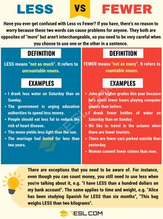 Less vs Fewer! Have you ever get confused with Less vs Fewer? If you have, there's no reason to worry because these two words can cause problems for anyone. English Tips, English Words, English Grammar, English Language, Language Arts, Uncountable Nouns, Confusing Words, Study Spanish, Improve Your English