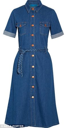 h Jeans - Belted stretch-denim shirt dress Denim Shirt Dress, Long Sleeve Shirt Dress, Short Sleeve Dresses, Dress Long, Stretch Denim, Chan Luu, Denim Fashion, Fashion Outfits, Jean Dress Outfits