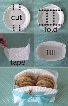 DIY cookie basket made from a paper plate - Clever home-made gift basket for baked goodies! -easy DIY cookie basket made from a paper plate - Clever home-made gift basket for baked goodies! Food Gifts, Craft Gifts, Craft Items, Cookie Baskets, Food Baskets, May Day Baskets, Easter Baskets, Bread Baskets, Egg Basket
