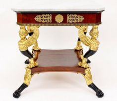 Early Century Empire Table By New York Furniture Maker Charles H.