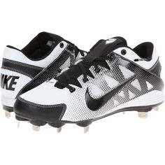 Nike Hyperdiamond Strike MTL Women's Cleated Shoes ($40) ❤ liked on Polyvore featuring shoes, athletic shoes, white, genuine leather shoes, white athletic shoes, cushioned shoes, nike footwear and lace up shoes