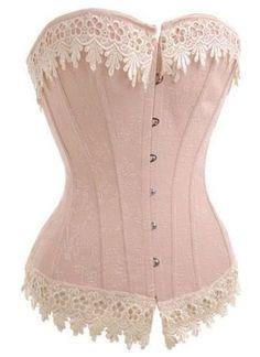 09bab33599a euro incl shipping Sexy lace up boned Burlesque Victorian Beige Lace Trim  Corset Busiter Basque lingerie underwear plus size XL XXL Bustiers.