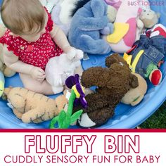 Create a cuddly sensory activity for baby with this fun fluffy bin. An easy baby activity that takes just seconds to set up and baby will love! Infant Sensory Activities, Baby Sensory, Sensory Bins, Activities For Kids, Sensory Play, Learning Activities, Baby Play, Baby Toys, Kids Toys