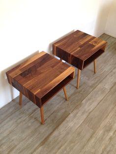 Mixed Walnut Side Tables Ready To Ship. $600.00, via Etsy.