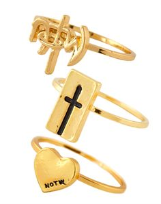 NOTW Stackable Rings - Gold Plated 3 Pack - Christian Rings for $14.99 | notw.com
