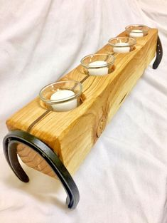 Items similar to Rustic Candle Holder - Horseshoes on Etsy Wood Tea Light Holder, Rustic Candle Holders, Rustic Candles, Reclaimed Wood Projects, Wooden Projects, Woodworking Projects Diy, Horseshoe Projects, Horseshoe Crafts, Wood Wall Design