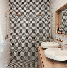 Beautiful patterned tiles are the focus of this bathroom teamed with off-white s. - - Beautiful patterned tiles are the focus of this bathroom teamed with off-white subway tiles and metallic accents Source by shelbytomasik Boho Bathroom, Bathroom Renos, Small Bathroom, Bathroom Ideas, Neutral Bathroom, Bathroom Art, Half Bathrooms, Bathroom Closet, Bathroom Inspo