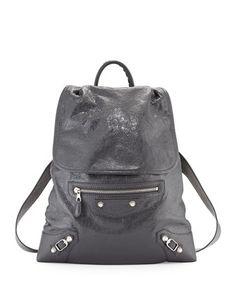 Giant Traveler\'s Lambskin Backpack, Gray by Balenciaga at Neiman Marcus.