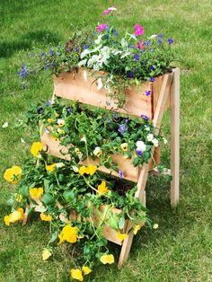 DIY Cedar Tiered Flower Planter or Herb Garden
