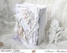 Shabby chic: Mini-album harmonica in a box by Alina + MK + collection of Bee shabby