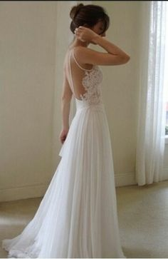 V-neck Straps Open Back Chiffon A-line Lace Wedding Dress,backless wedding dress