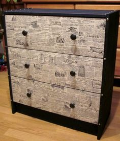 ikea hack. could be cool with an antiqued map instead of newspaper.