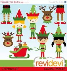 Christmas elf cliparts. Boys and girls, and rudolph the reindeer. Digital graphic clip arts for your craft and creative projects. For Commercial Use