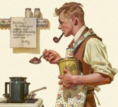 Norman Rockwell coffee painting - this would be great in the kitchen.