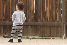 Last Pair! Ready to Ship! Size 6 Months Baby Boy Baby Girl Grey and Black Striped Harem Pants