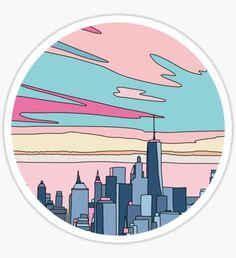 Bubble stickers - City sunset by Elebea Sticker – Bubble stickers Stickers Cool, Preppy Stickers, Bubble Stickers, Printable Stickers, Laptop Stickers, Posca Marker, Homemade Stickers, Record Art, Retro Wallpaper
