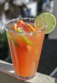 Instead of being tart as one would expect from a grapefruit-based drink, this roasted margarita is slightly smokey, crisp, and just a little spicy (thank you habanero). It's perfect for winter. Curl up next to the fire and enjoy!