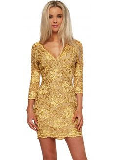 Baccio Bruna Dress With Crystal & Gold Painted Lace