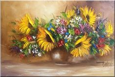 Malarstwo i Fotografia - Ewa Bartosik: Kwiaty Polne Flower Art, Art Flowers, Daisy, Paintings, Sunflowers, Plants, Inspirational, Oil, Beauty