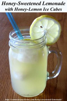 Honey-Sweetened Lemonade with Honey-Lemon Ice Cubes. Light, refreshing ...